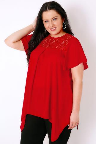 Red Blouse With Sequin Lace Yoke & Hanky Hem