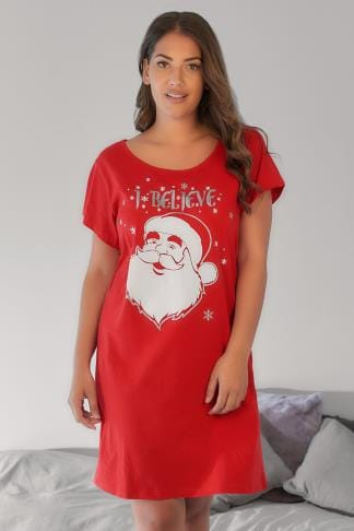 "Nightdresses & Chemises Red Christmas Santa ""I believe"" Slogan Print Nightdress With Diamante Studs 148113"