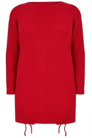 Jumpers Red Chunky Knit Longline Jumper With Lace-Up Hem 124083