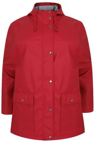 Coats Red Coated Mac With Striped Lined Hood 120050