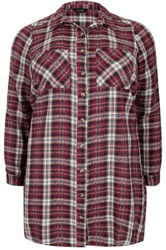 Burgundy & Cream Checked Boyfriend Shirt With Jacquard Detail