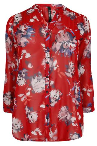 Red Floral Print Chiffon Blouse With Cutaway Neckline 170065