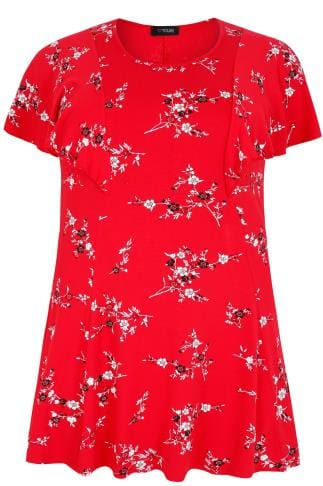 Red Floral Print Peplum Top With Frill Angel Sleeves