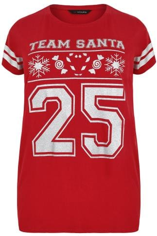 "Red Glittery ""Team Santa"" Christmas Slogan Top With Stripe Sleeves"