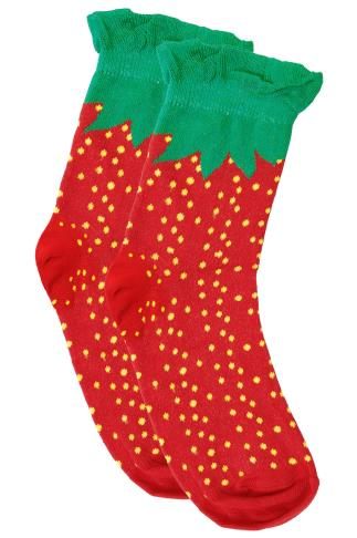 Red & Green Strawberry Print Wide Fit Socks