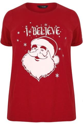 "Red ""I Believe"" Father Christmas T-Shirt"
