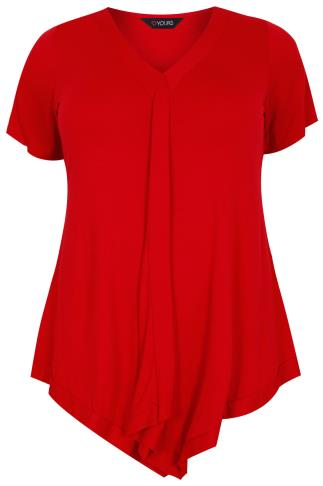 Red Jersey Drape Front Top With Tie Back