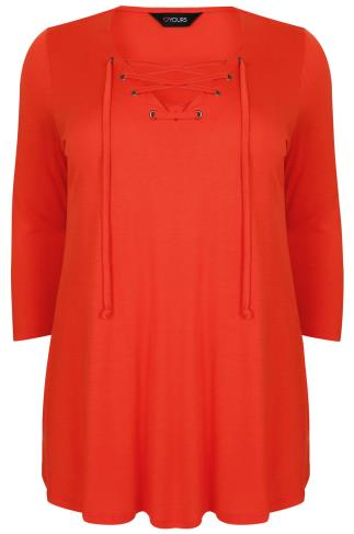 Orange Jersey Half Sleeve Top Lace Up Neck