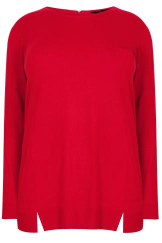 Red Jumper With Zip & Hem Details