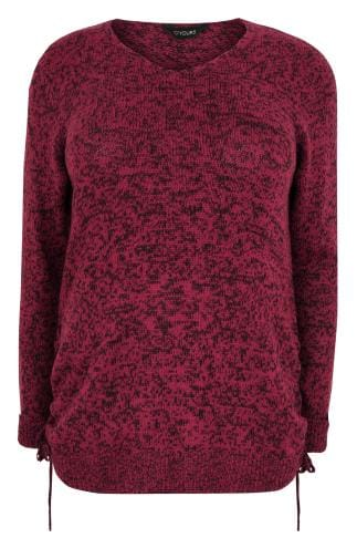 Red Knitted V-Neck Jumper With Lace Up Sides