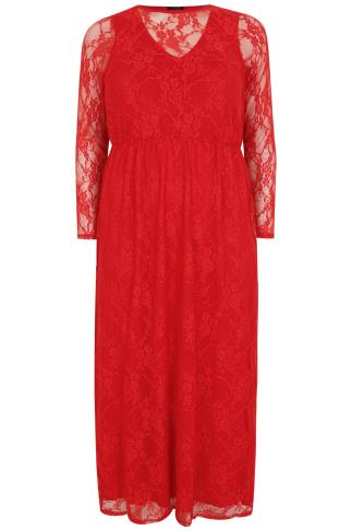 Red Lace Overlay Maxi Dress With Elasticated Waist