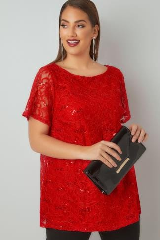 Party Tops Red Lace Shell Top With Sequin Details 134255