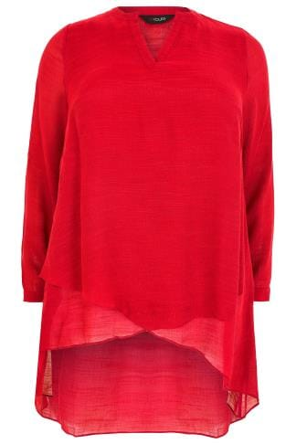 Red Layered Blouse With Notch Neck & Dipped Hem