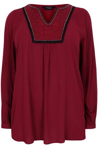 Red Long Sleeve Blouse With Detailed Beaded Neckline