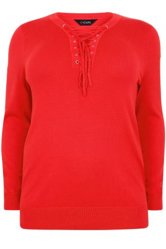 Red Long Sleeve Jumper With Lace Up Neckline