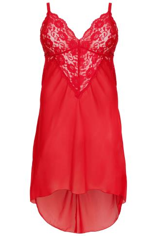 YOURS LONDON Red Mesh & Lace Chemise With Extreme Dip Hem