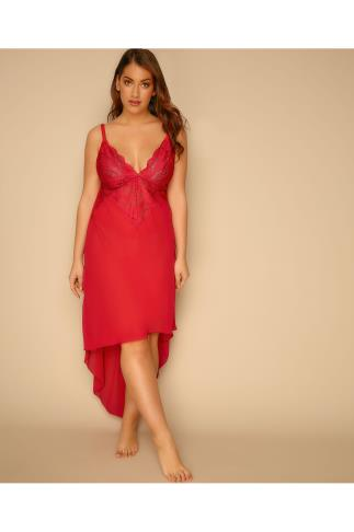 Red Mesh & Lace Chemise With Extreme Dip Hem