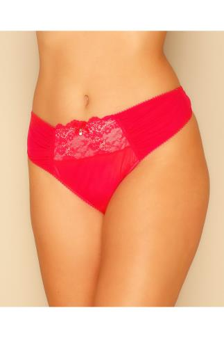 Red Mesh Thong With Ruching & Lace Panels 101464