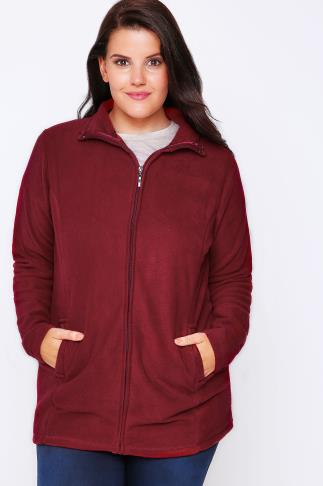 Fleece Red Microfleece With Zip Front 100983
