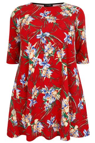 Red & Multi Tropical Floral Print Textured Swing Dress With Half Sleeves
