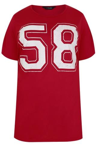 Red Oversized Varsity 58 Print T-Shirt