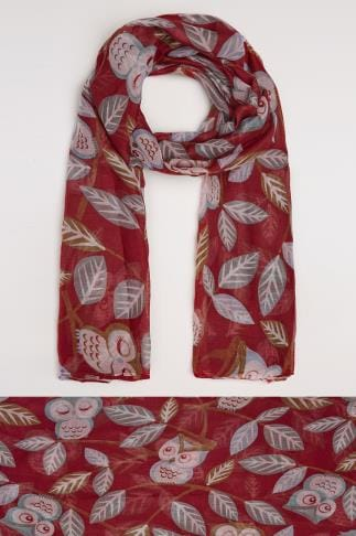 Scarves Red Owl Print Scarf 152006