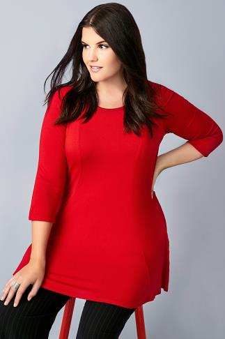 Red Panelled Peplum Swing Top