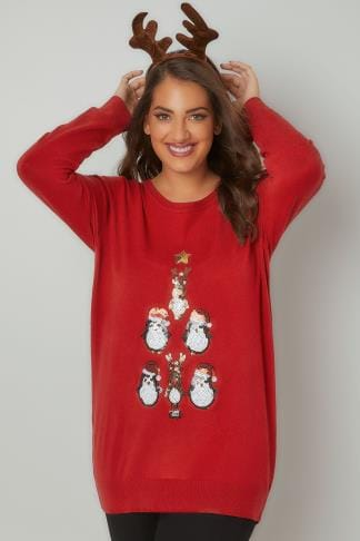 Jumpers Red Penguin Sequin Embellished Fine Knit Christmas Novelty Jumper 124145