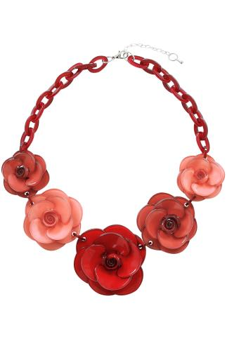 Red & Pink Acrylic Flower Statement Necklace 152112