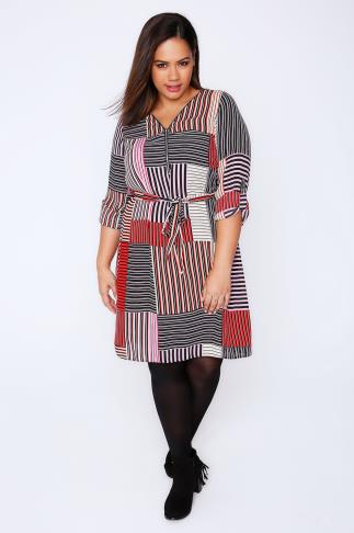 Red, Pink & Black Mixed Stripe Zip Front Dress With Waist Tie