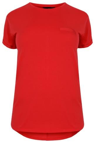 Red Pocket T-Shirt With Curved Hem