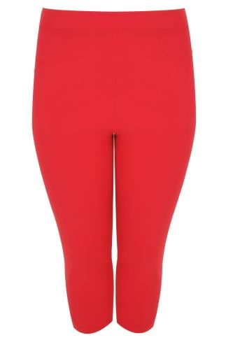 Red Pull On Stretch Cropped Trousers