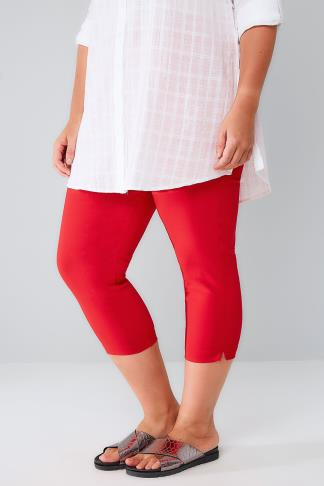 Red Pull On Stretch Cropped Trousers 144056