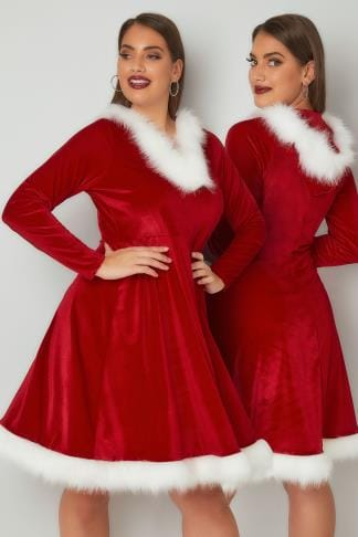 Skater Dresses Red Christmas Santa Skater Dress With Faux Fur Trims 136204