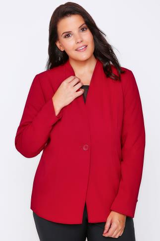Red Semi-Fitted Fully Lined Single Button Blazer Jacket
