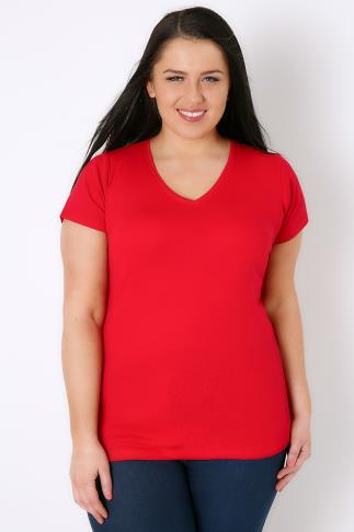 Red Short Sleeved V-Neck Basic T-Shirt