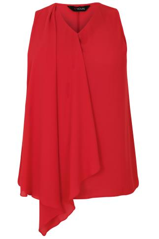 Red Sleeveless Top With Layered Waterfall Front