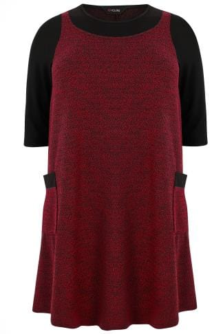 Red Textured Mock Pinafore Dress With Two Pockets