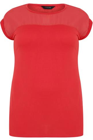 Red Top With Sheer Panel & Short Sleeves