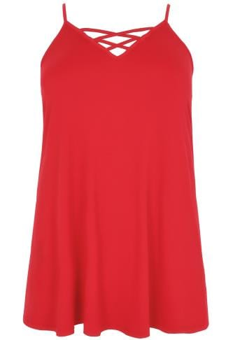 Red V-Neck Longline Cami Vest Top With Cross Front Detail