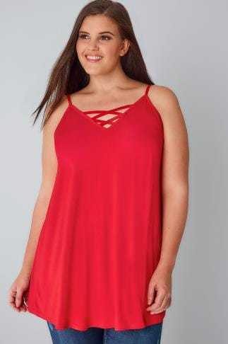 Jersey Tops Red V-Neck Longline Cami Vest Top With Cross Front Detail 132363