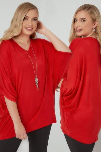 Jersey Tops Red V-Neck Oversized Cape Style Jersey Top 132409
