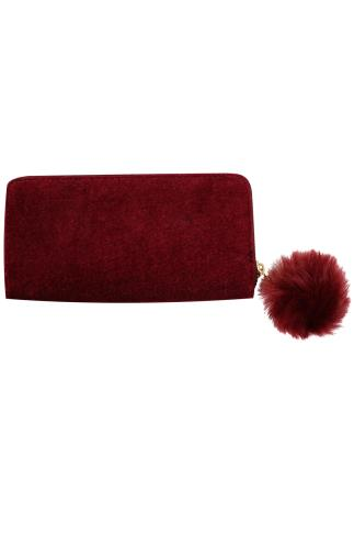 Red Velvet Purse With Pom Pom Zip
