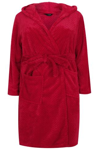 Red Waffle Dressing Gown With Hood & Pockets