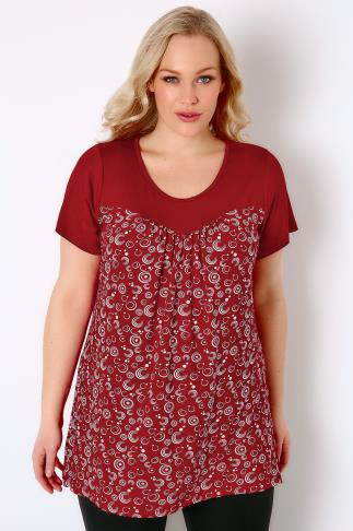 Red & White Swirl Print Jersey Top