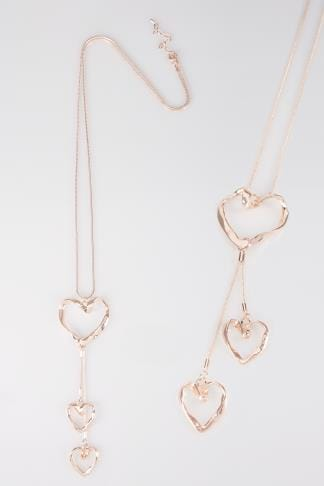 Necklaces Rose Gold Drop Necklace With Heart Pendants 152390