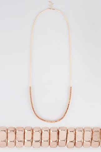 Jewellery Rose Gold Long Metal Beaded Necklace 152123