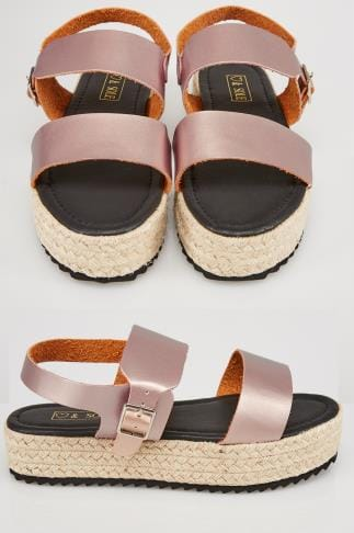 Sandalen in weiter Passform Rose Gold PU Flatform Espadrille Sandale In E Fit 057209