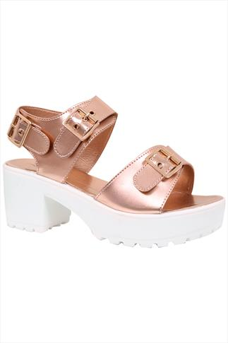 Wide Fit Wedges Rose Gold & White Cleated Platform Sandal In EEE Fit 056756