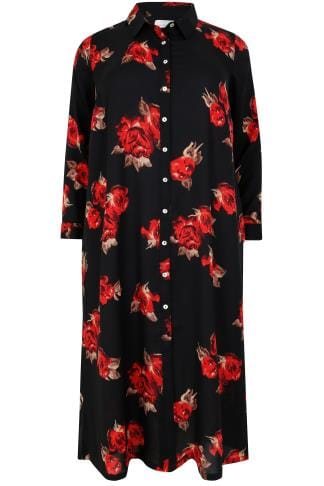 Blusen Black & Red Rose Print Maxi Shirt Dress 156223